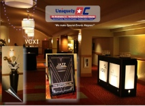 Uniquely-DC roaring 20s themed event with beautiful art deco urns, marquis signs, inner lit branded sponsor bars and more.  Washington DC Special Events.