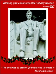 Happy Holidays from Uniquely DC and our Abraham Lincoln Statue now available for events in DC, Maryland and beyond.