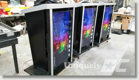 Uniquely DC LED screen lecterns / Podiums for business meetings and special events.