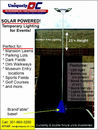 Washington DC Outdoor Portable Solar Powered Lighting Poles- no generators needed for National Mall Events.