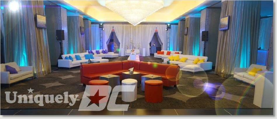 Uniquely DC Event Furnishings feature white leather sofas, love seats, ottomans, glass coffee tables, lighted LED pedestals and room draping