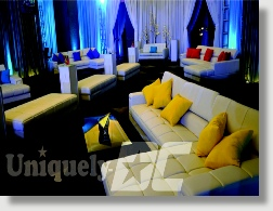 Rent beautiful white leather furniture for your very special Washington DC event from Uniquely DC