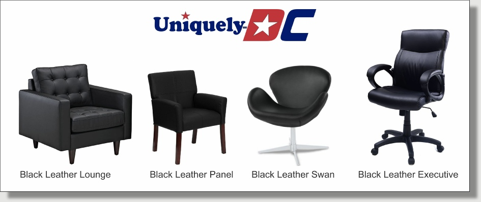 Uniquely DC Black Leather Chairs - Furniture Rentals for Business Meeting Stages in Washington DC