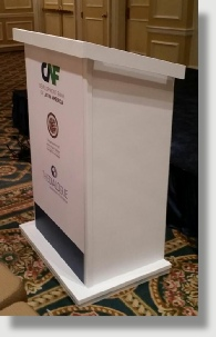 Uniquely DC white lighted lecterns / Podiums for business meetings and special events.