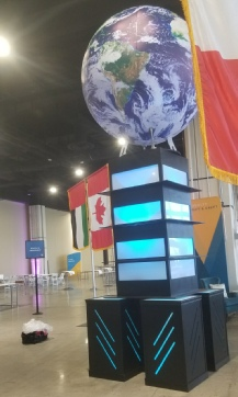 Giant Earthsphere Globe as the centerpiece to a convention tradeshow exhibition in Washington DC.