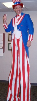 Uncle Sam Stilt Walker - Entertainer for Hire in the Washington DC Metro Area.
