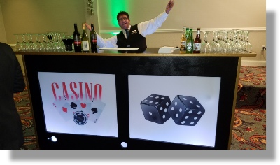 Uniquely DC Casino Events with memorable lighted Casino Bar Surrounds.