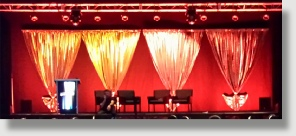 Uniquely DC Stage drapery for business meetings and general session productions.
