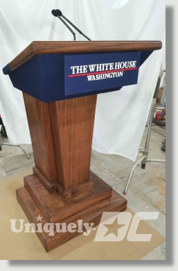 Hand crafted, solid mahogany White House Lectern / Podium replica availabe for special events