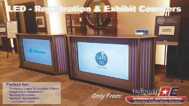 LED registration counters, exhibit counter rentals, LED sponsor bars in Washington DC and Maryland from Uniquely DC.
