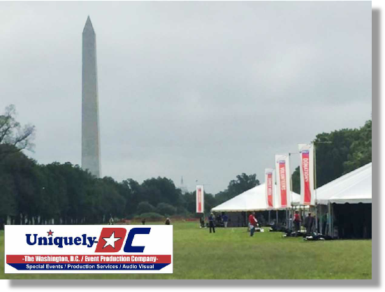 Towering Super Poles for Identifier banners on the National Mall and in the convention center.  Freestanding units telescope to 30' in height allowing great viewing from a distance.  We print the banners in house - Uniquely DC is your one stop shop for events in Washington DC.