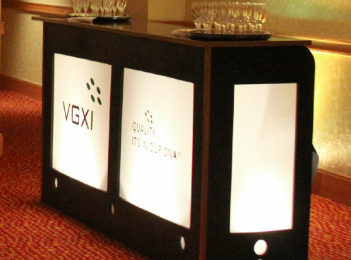 Uniquely-DC, Lighted Sponsor Bars, backlit bars, custom logo branded bars for Special Events.  Equipment, Audio Visual Equipment and Decor for events in Washington DC